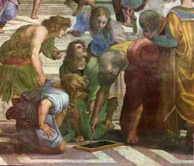 This is a detail from the fresco The School of Athens by RaphaelEuclid has been given the face of the architect BramanteYou can see the whole fresco