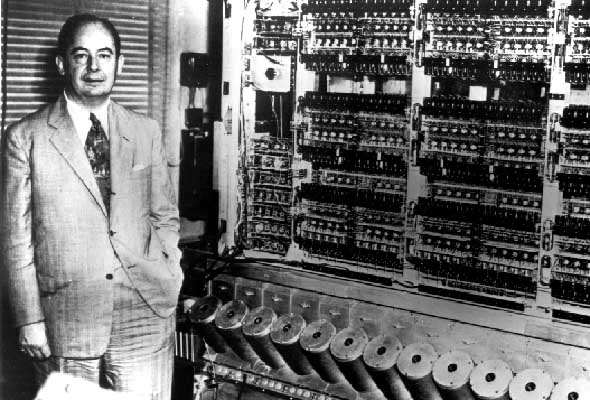Von Neumann with the first Institute computer(Photograph by Alan Richards: Archives of the Institute for Advanced Study)